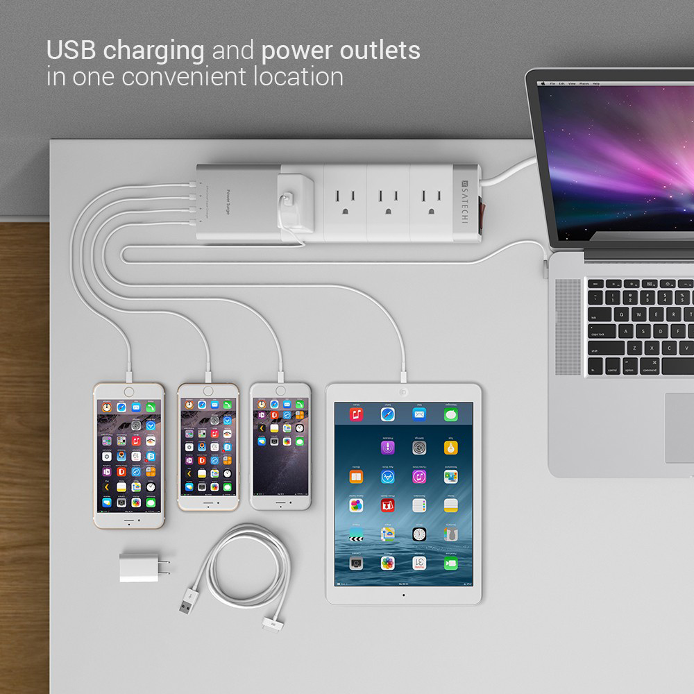 Satechi Aluminum Power Strip with 4 USB Charging Ports