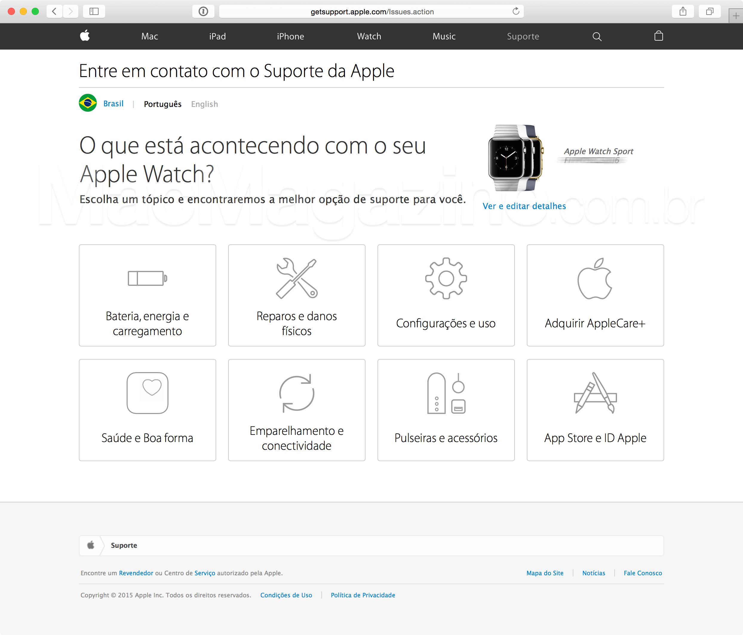 Suporte do Apple Watch no Brasil