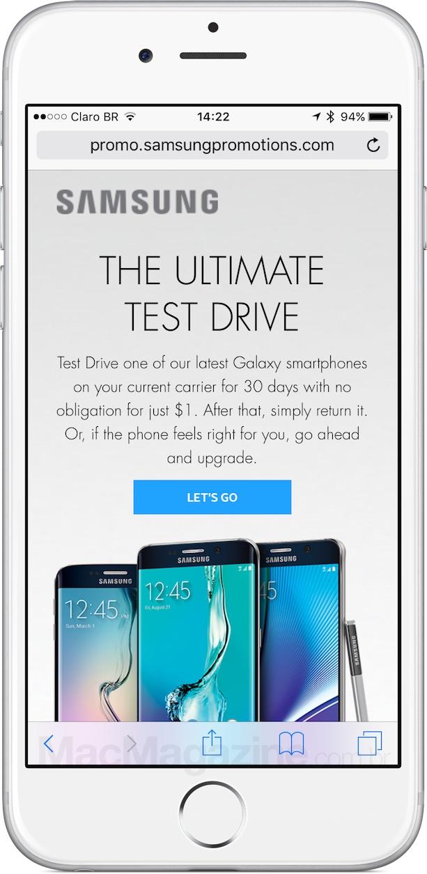 Teste drive promovido pela Samsung