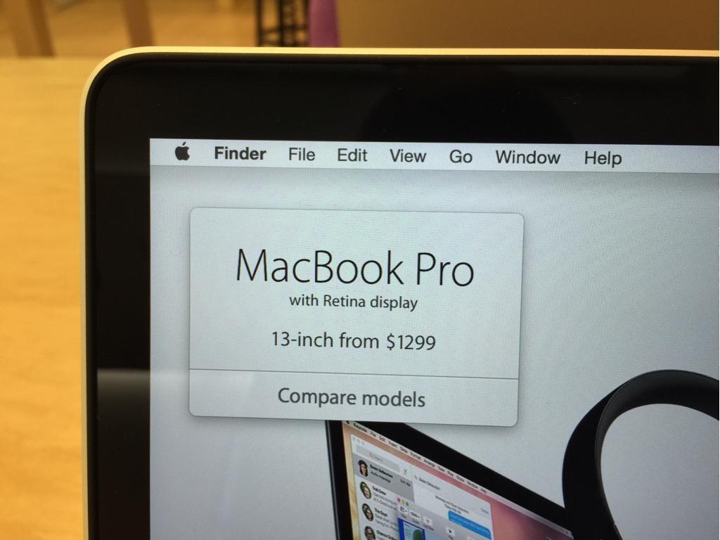 App Pricing utilizado em produtos expostos nas lojas da Apple