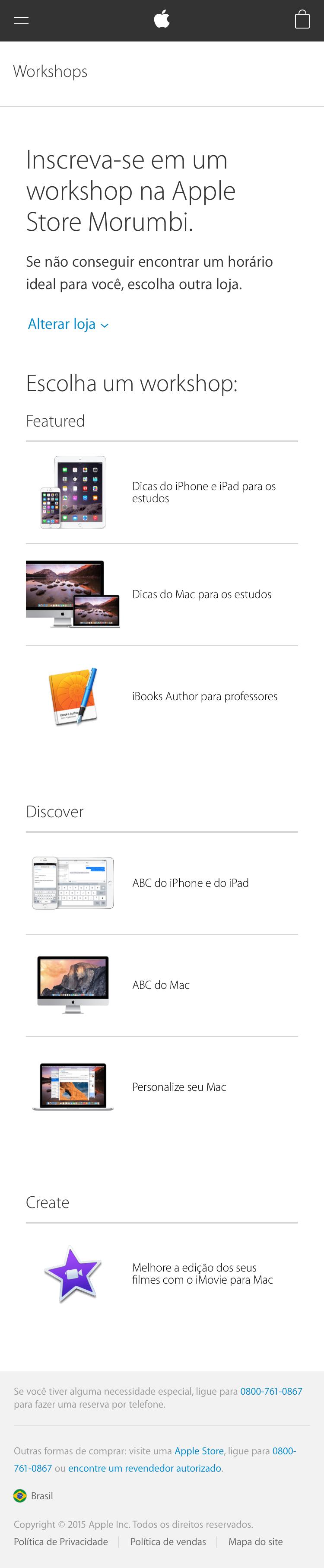 Site mobile para agendamento de Workshops da Apple