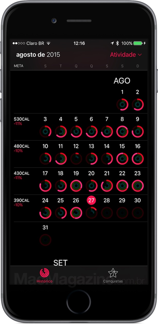 Metas semanais de calorias no app Atividade