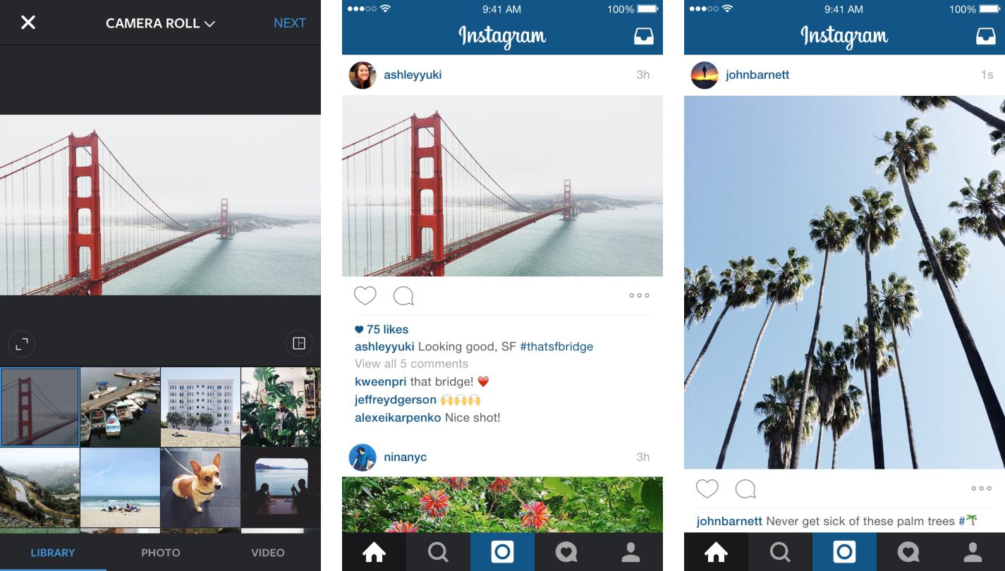 Fotos com proporção livre no Instagram
