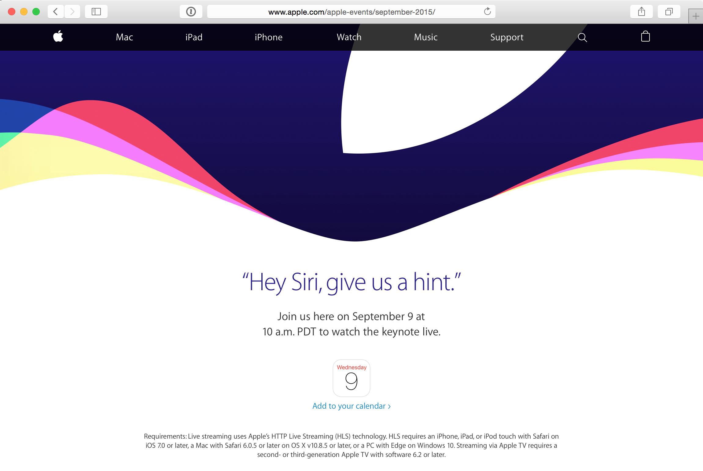Transmissão do evento especial da Apple