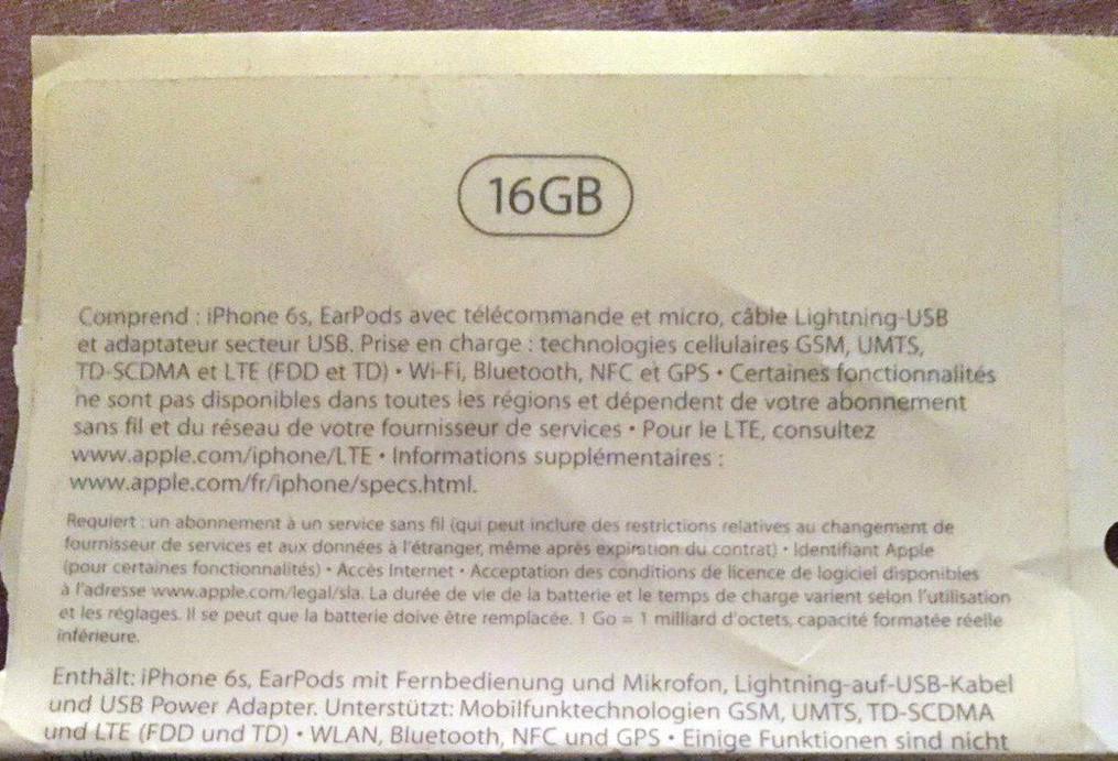 "Caixa do ""iPhone 6s"" de 16GB"