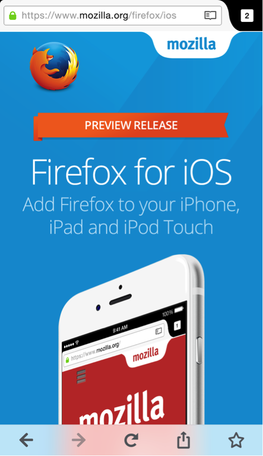 Firefox para iOS (preview)