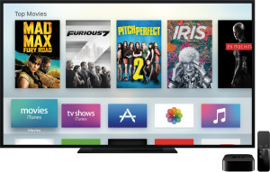 Nova Apple TV ao lado do controle remoto com a tela inicial do tvOS
