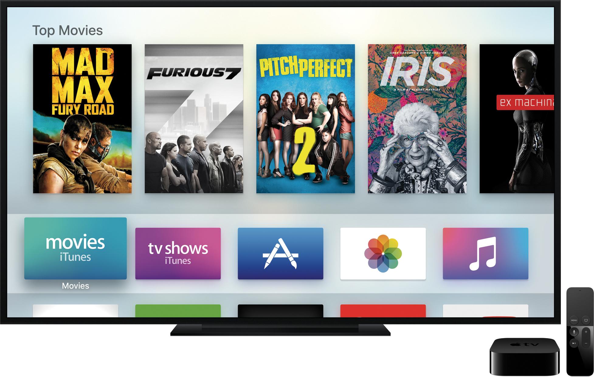 Nova Apple TV ao lado do controle remoto com a tela inicial do tvOS