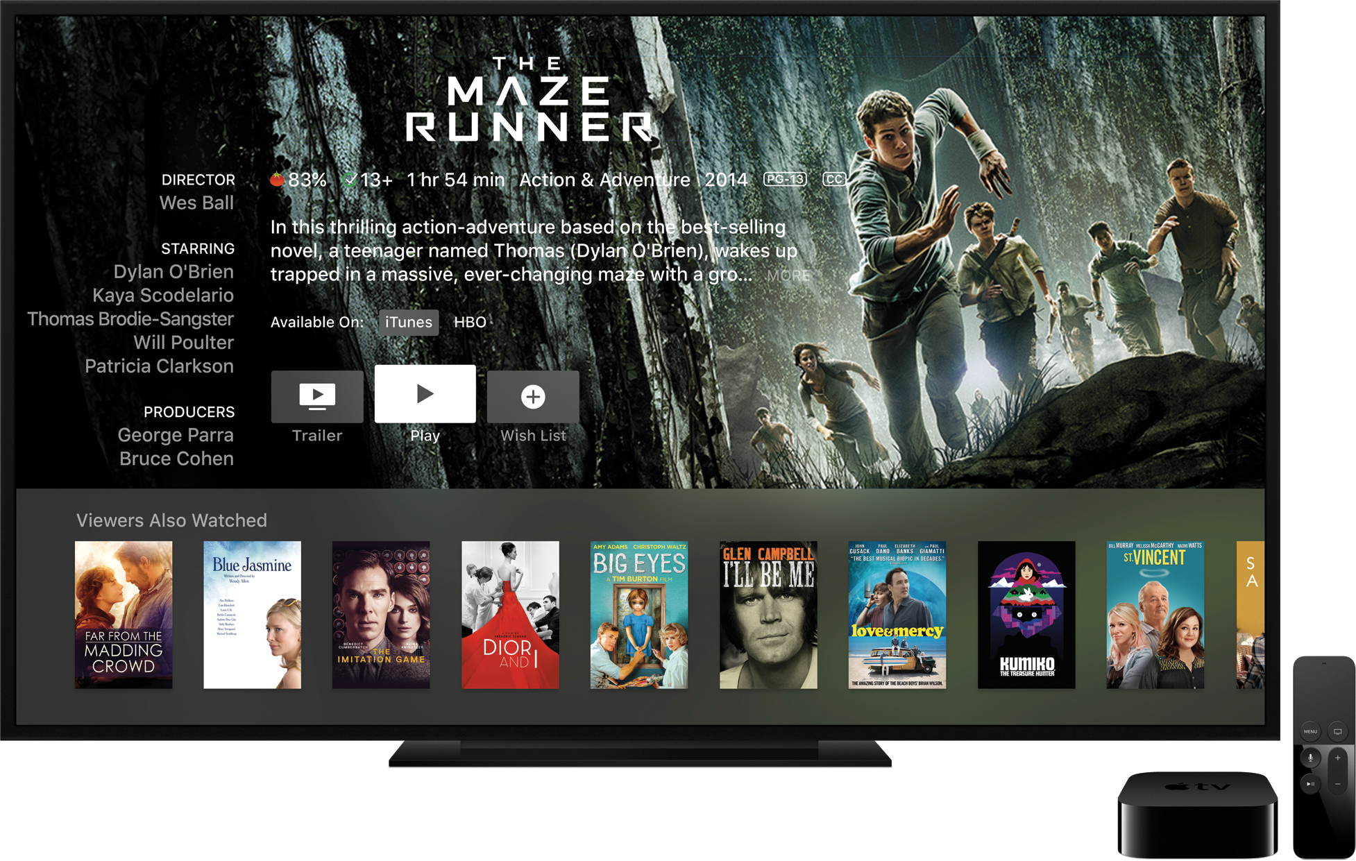 """Informações de """"The Maze Runner"""" na televisão ao lado da nova Apple TV e do controle remoto"""