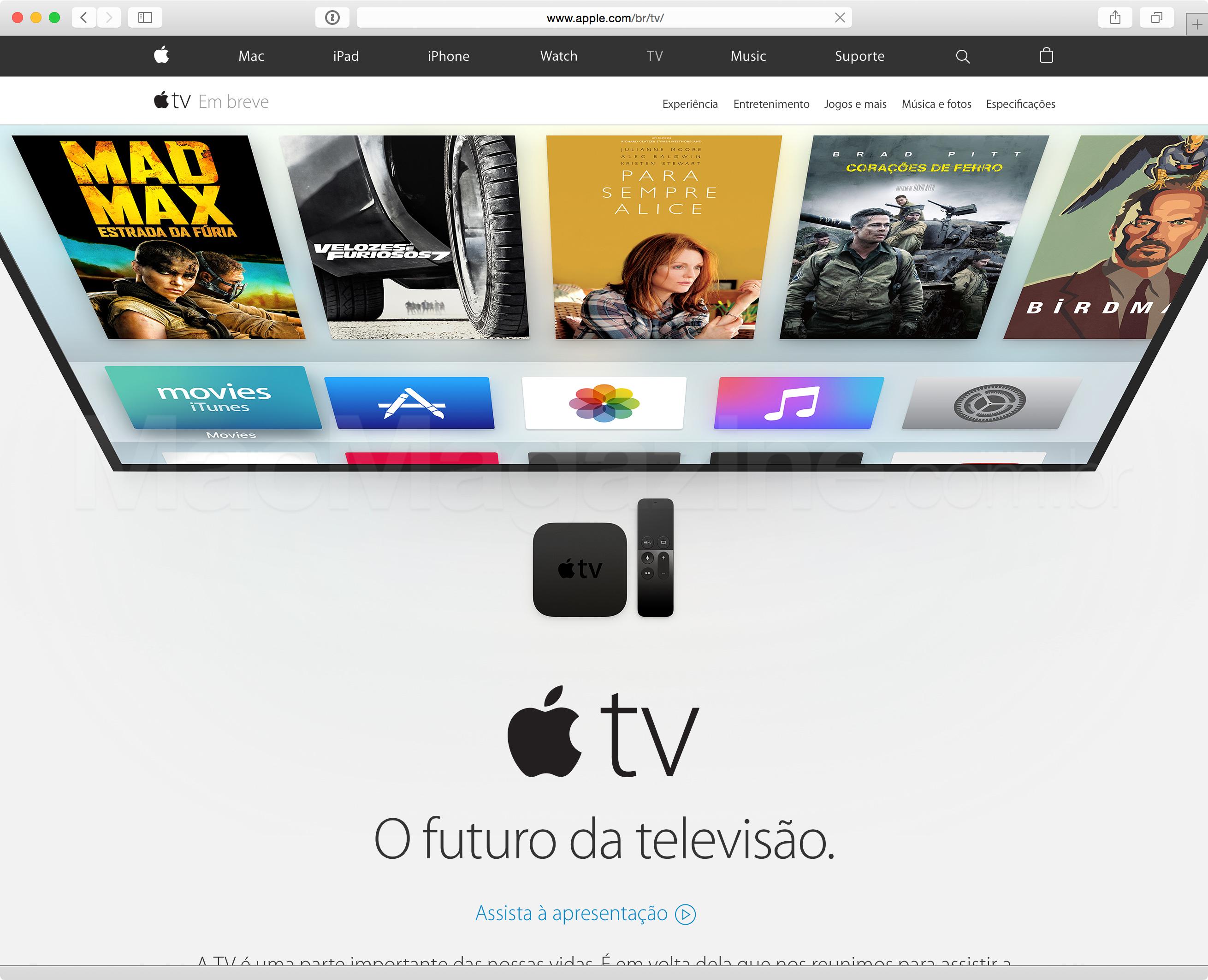 Nova Apple TV no site