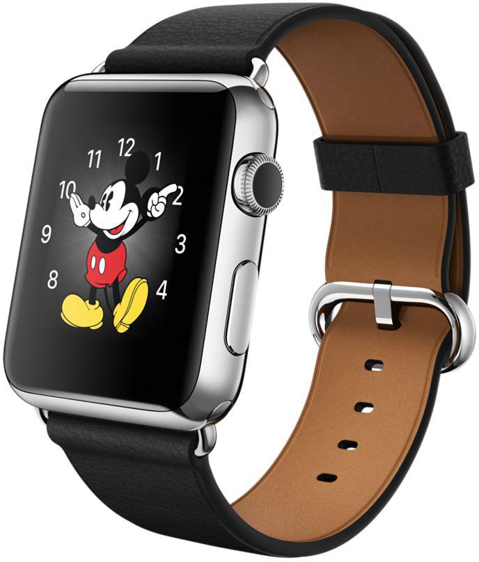 Apple Watch com pulseira de fecho clássico na cor preta