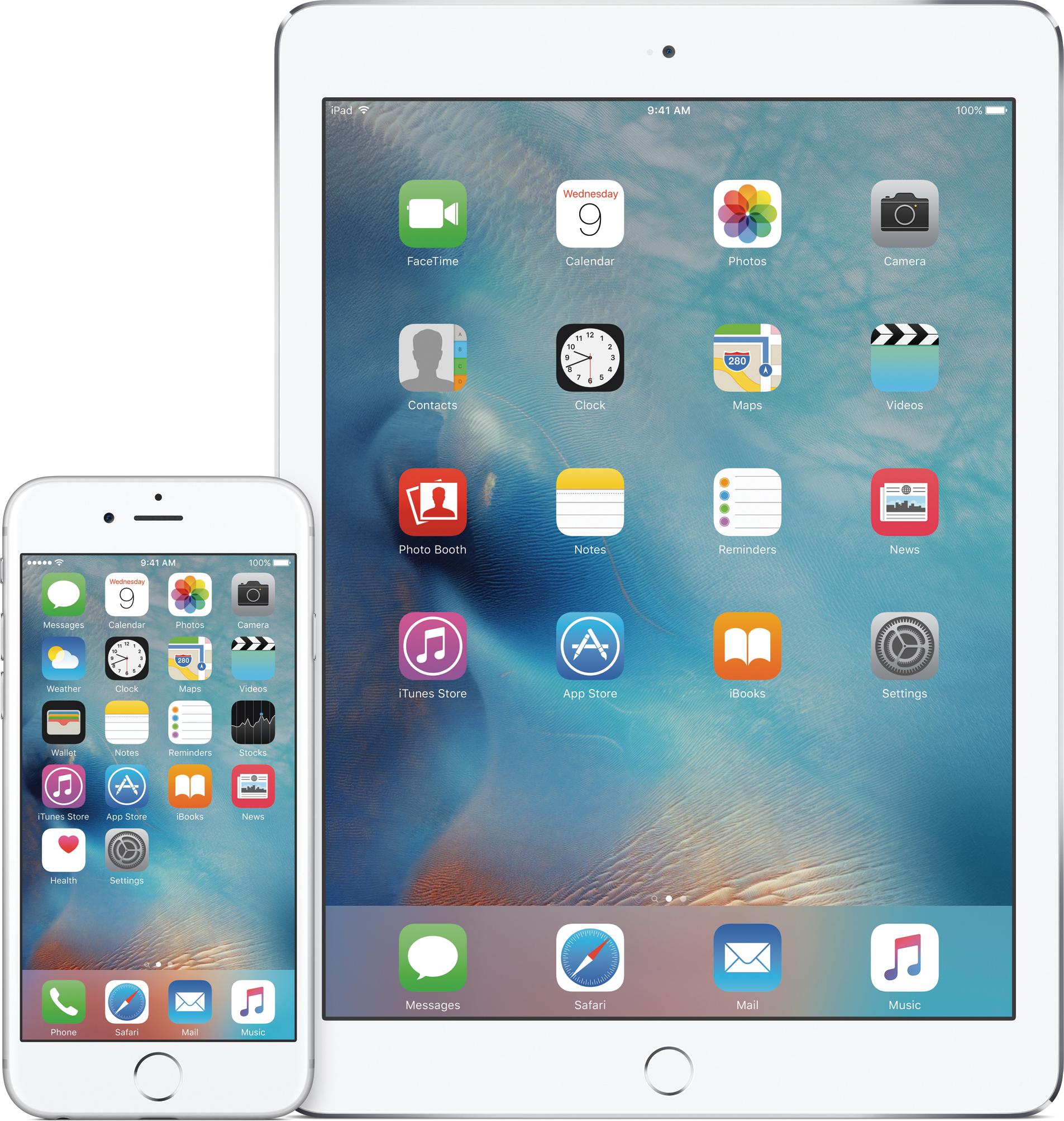iOS 9 num iPad e num iPhone