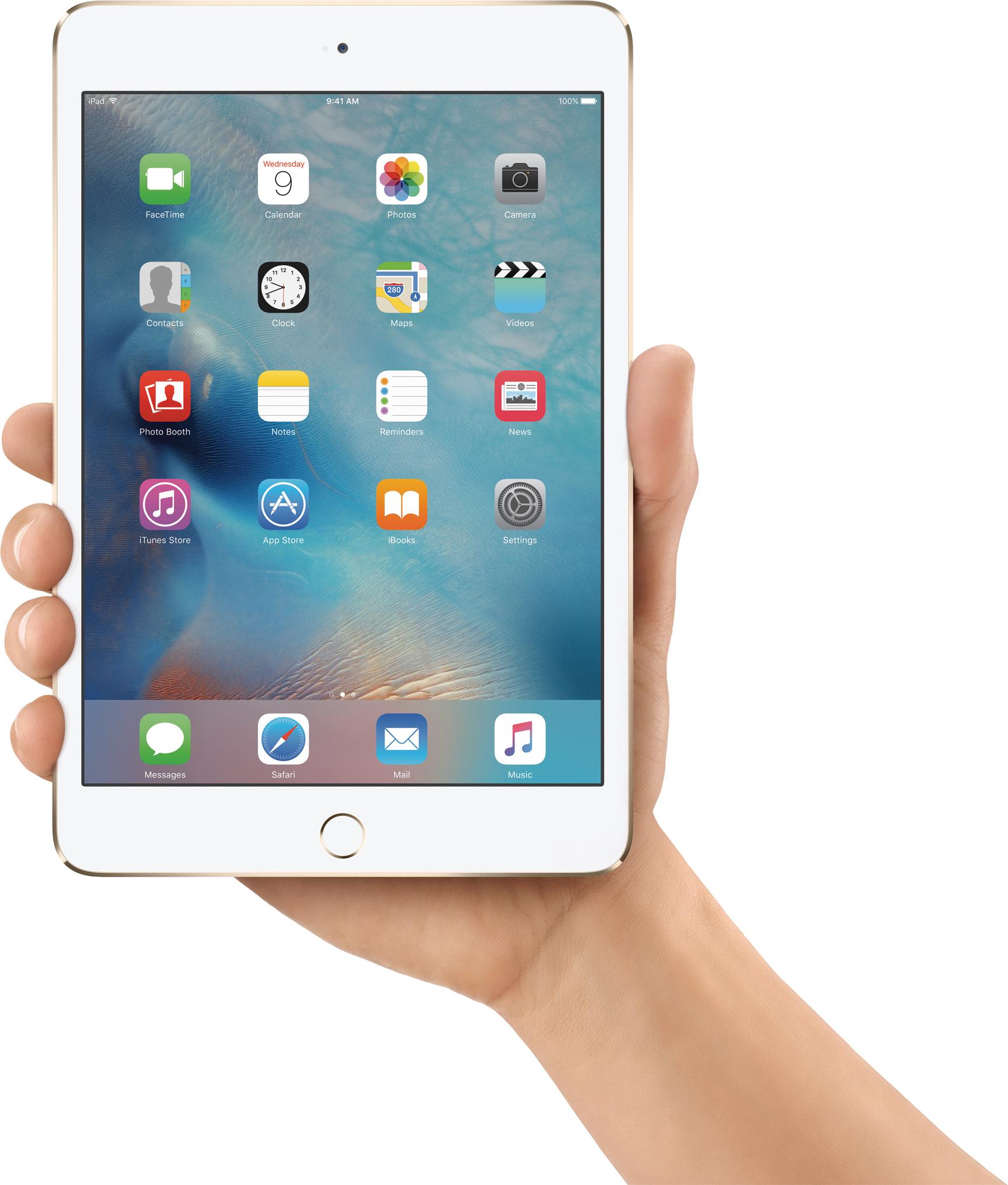 iPad mini 4 segurado com uma mão