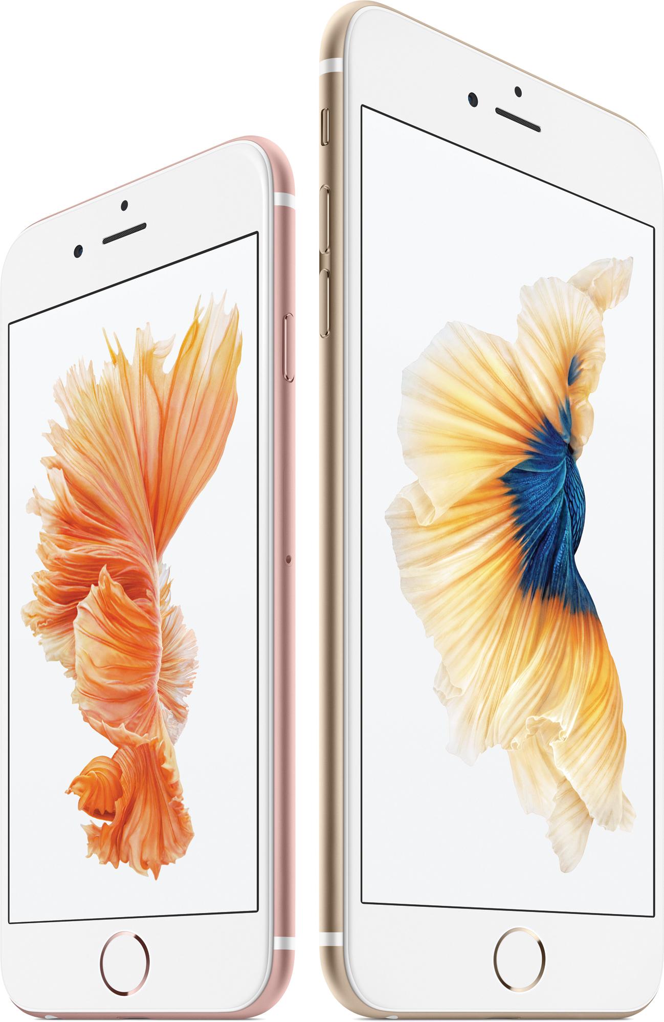 iPhones 6s e 6s Plus de frente e de lado
