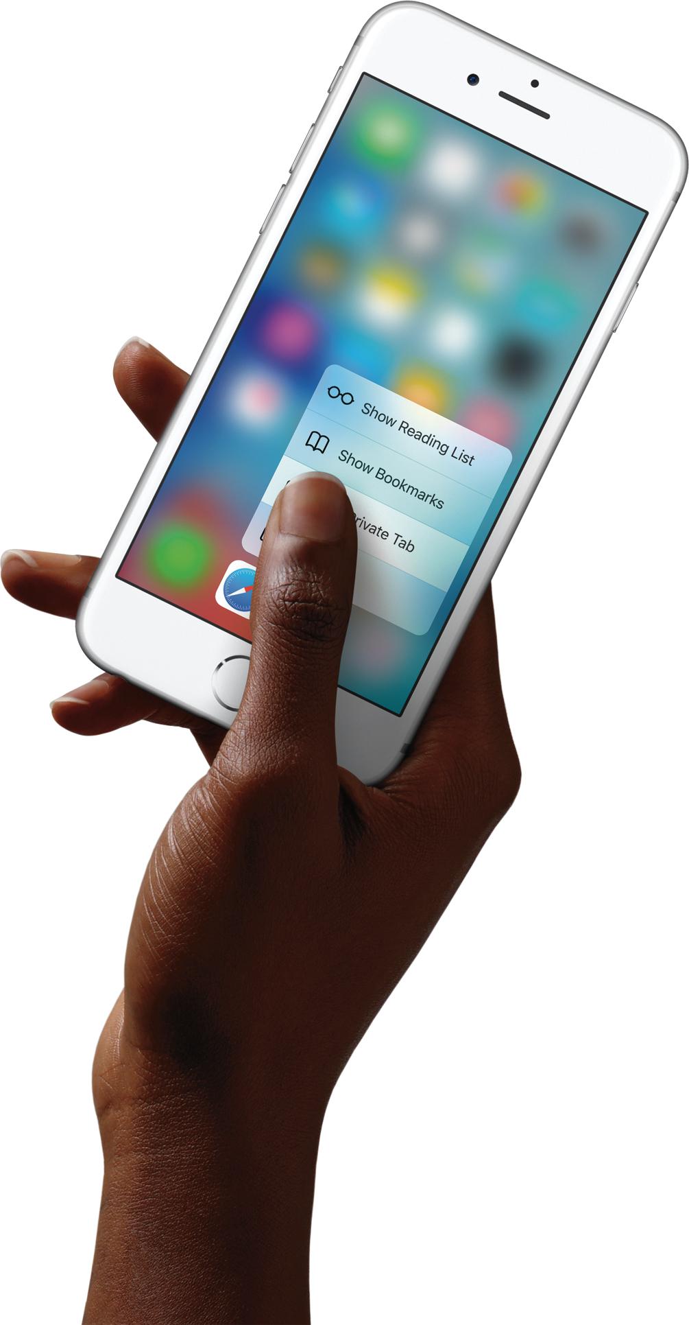 iPhone 6s prateado com 3D Touch sendo usado com uma mão