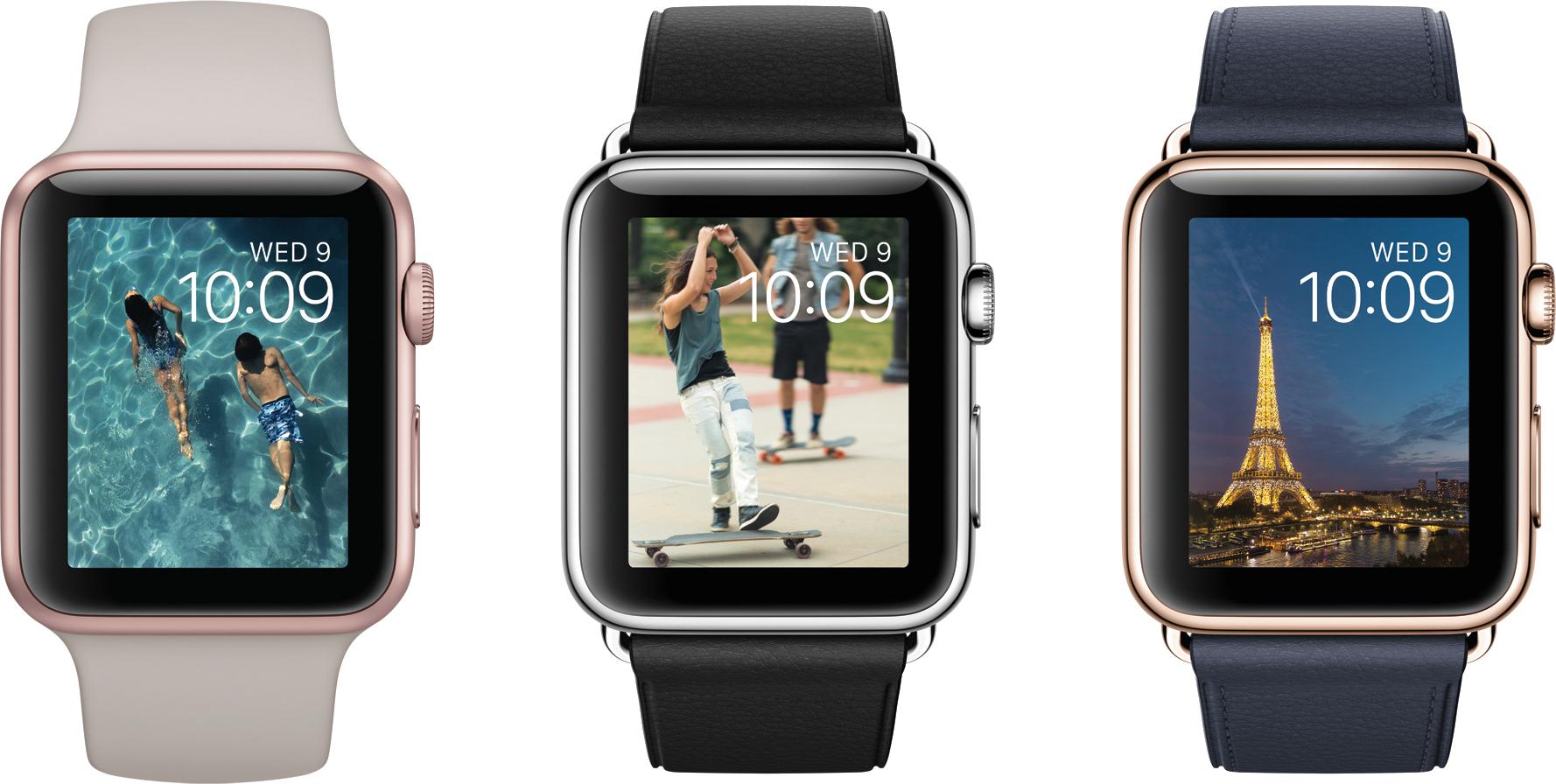 Novos mostradores do watchOS 2 em Apple Watches variados