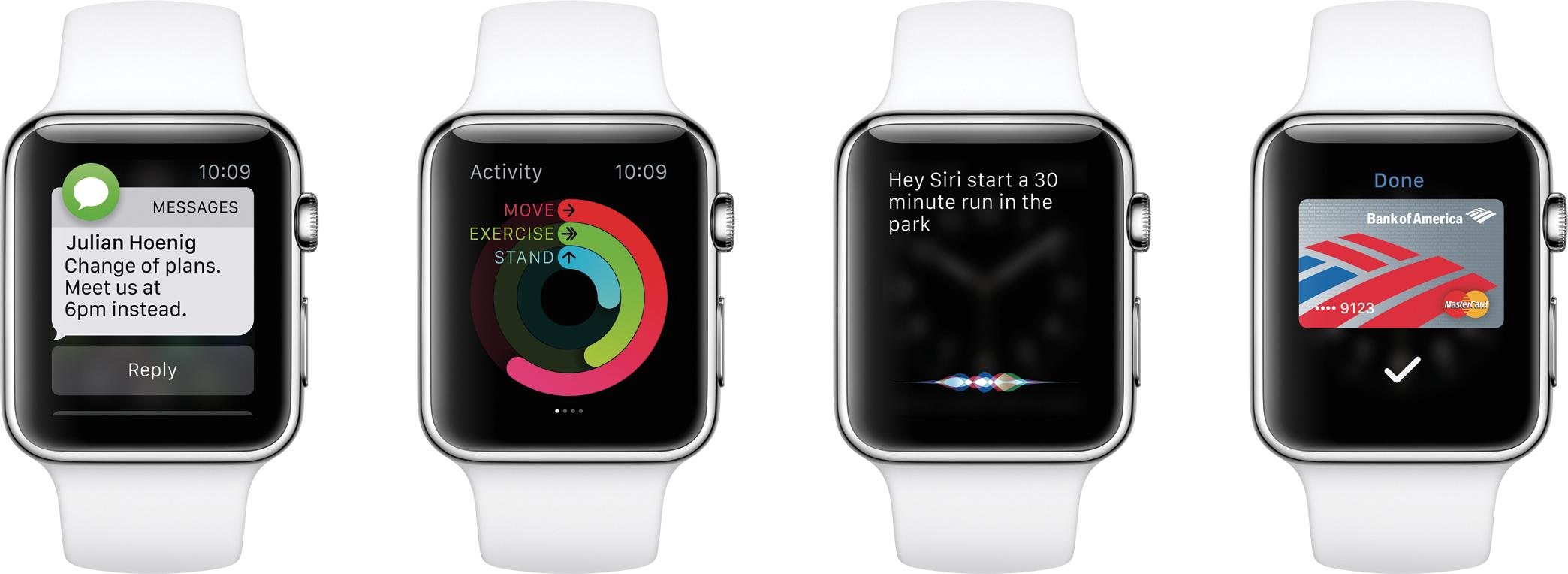 Funções do watchOS sendo mostradas em alguns Apple Watches
