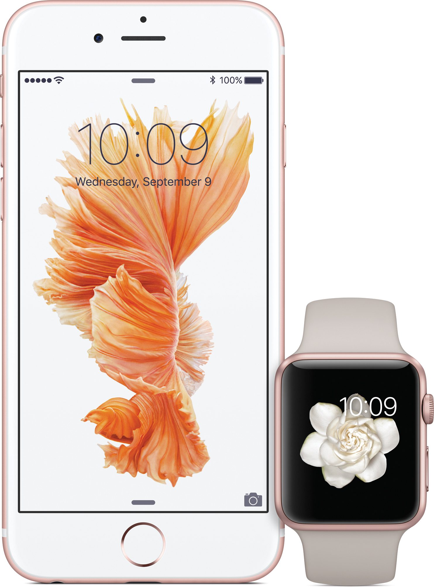 iPhone 6s com Apple Watch Sport nas cores ouro rosé
