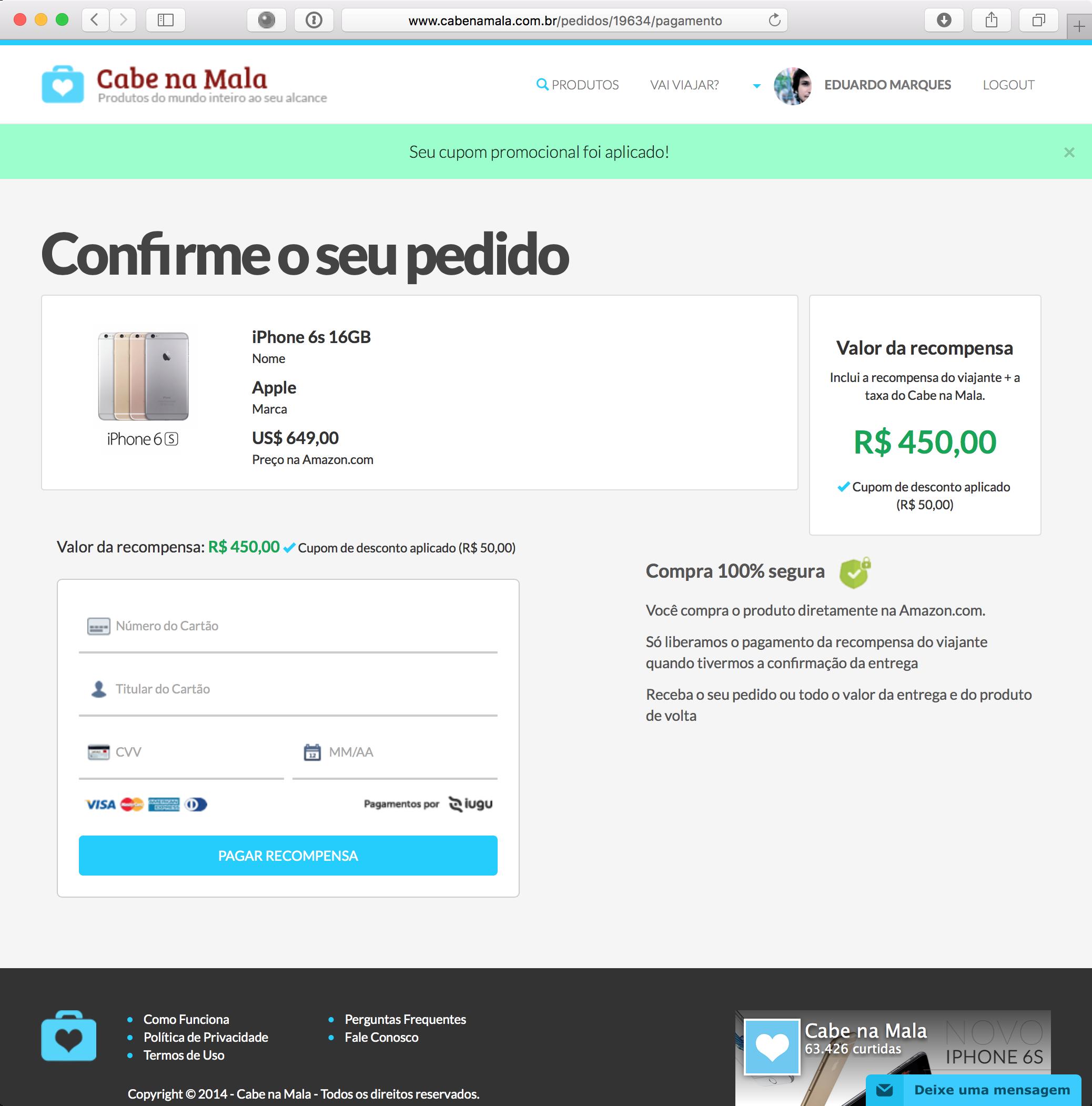 Comprando um iPhone 6s pelo Cabe na Mala