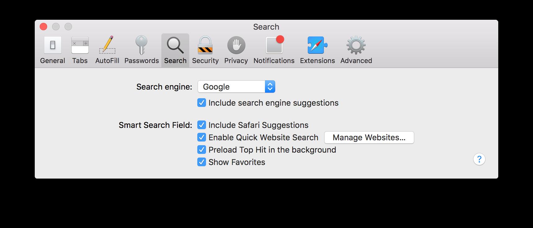 Controle das buscas no Safari