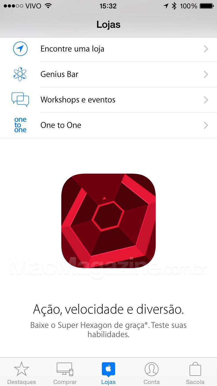 Super Hexagon pelo app Apple Store