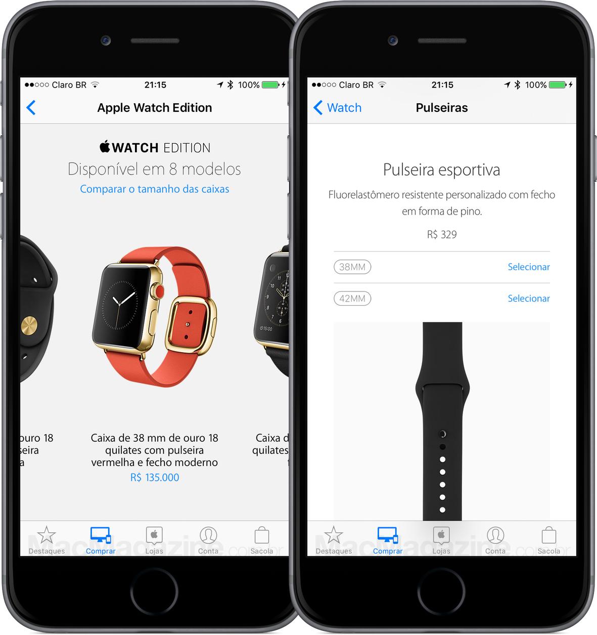 Preços dos Apple Watches
