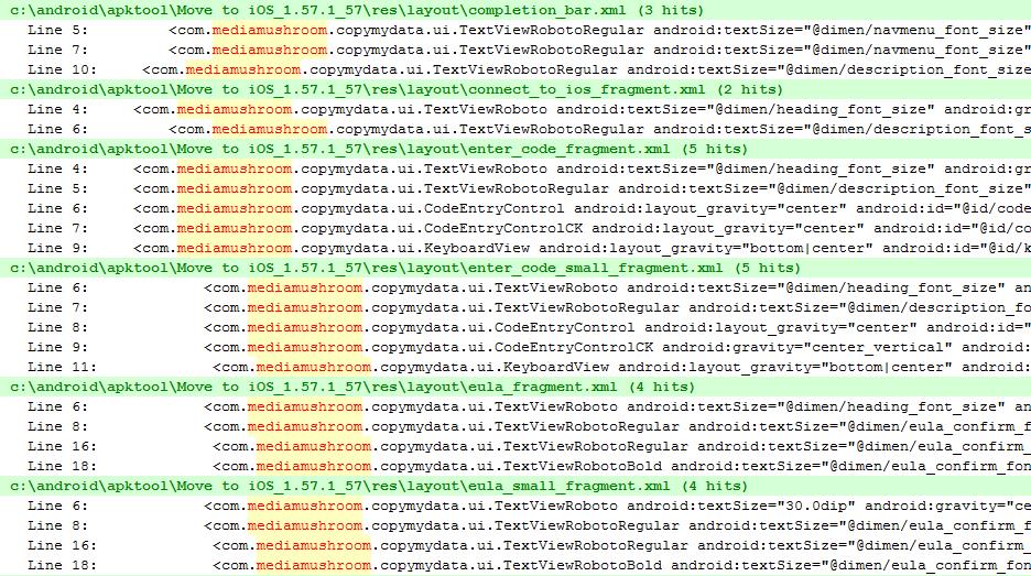 Códigos do Copy My Data encontrados no Move to iOS