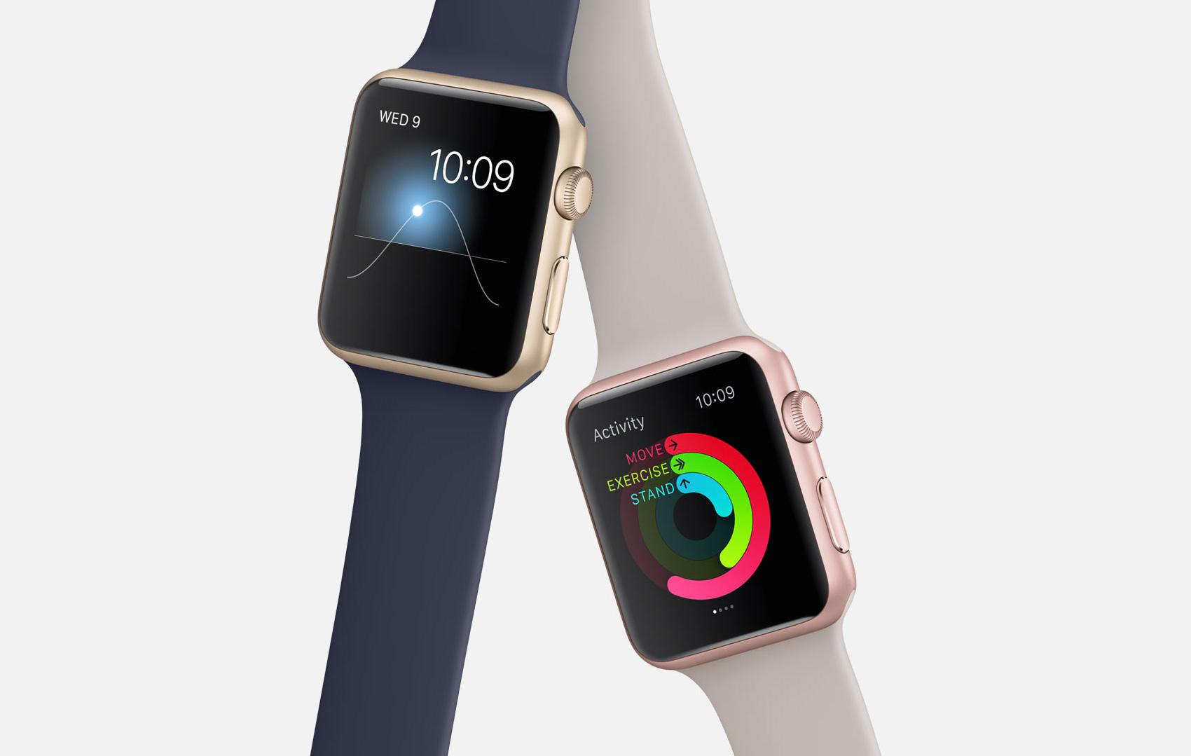 Apple Watches Sport dourado e ouro rosé