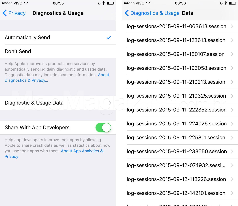 Screenshots de Diagnóstico e Dados