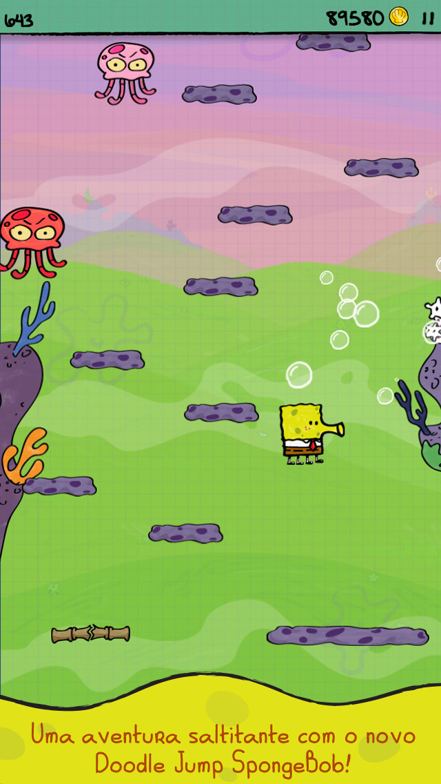 Screenshot do jogo Doodle Jump SpongeBob SquarePants