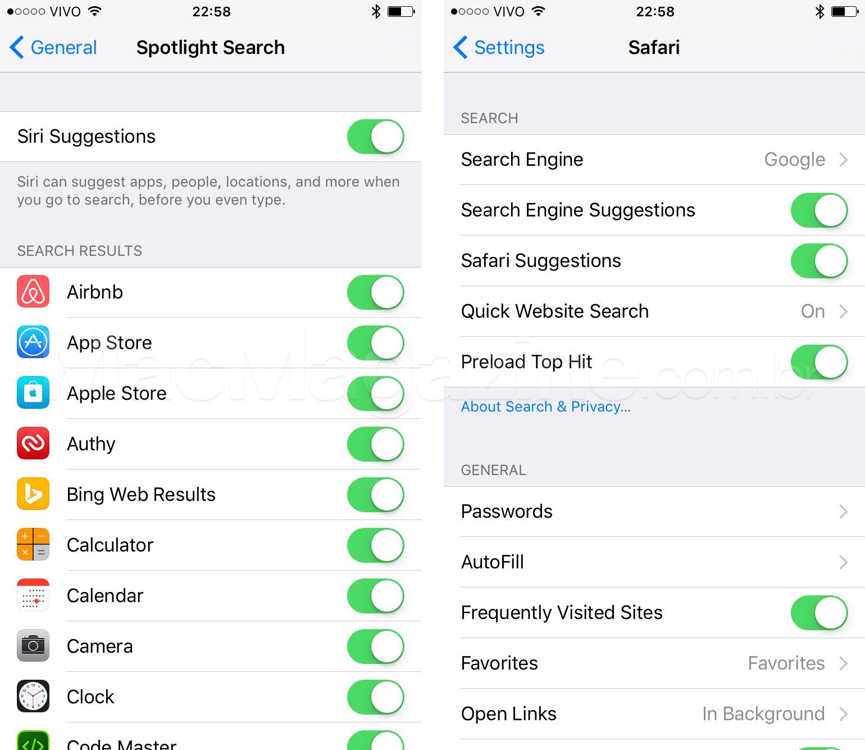 Screenshots de Siri e Safari