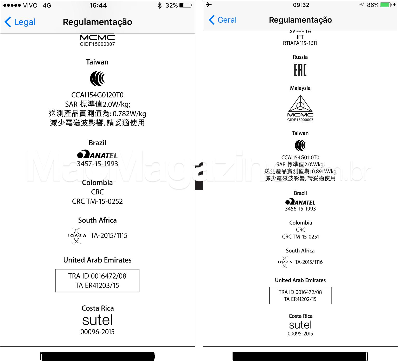 Selo da Anatel em iPhones 6s e 6s Plus