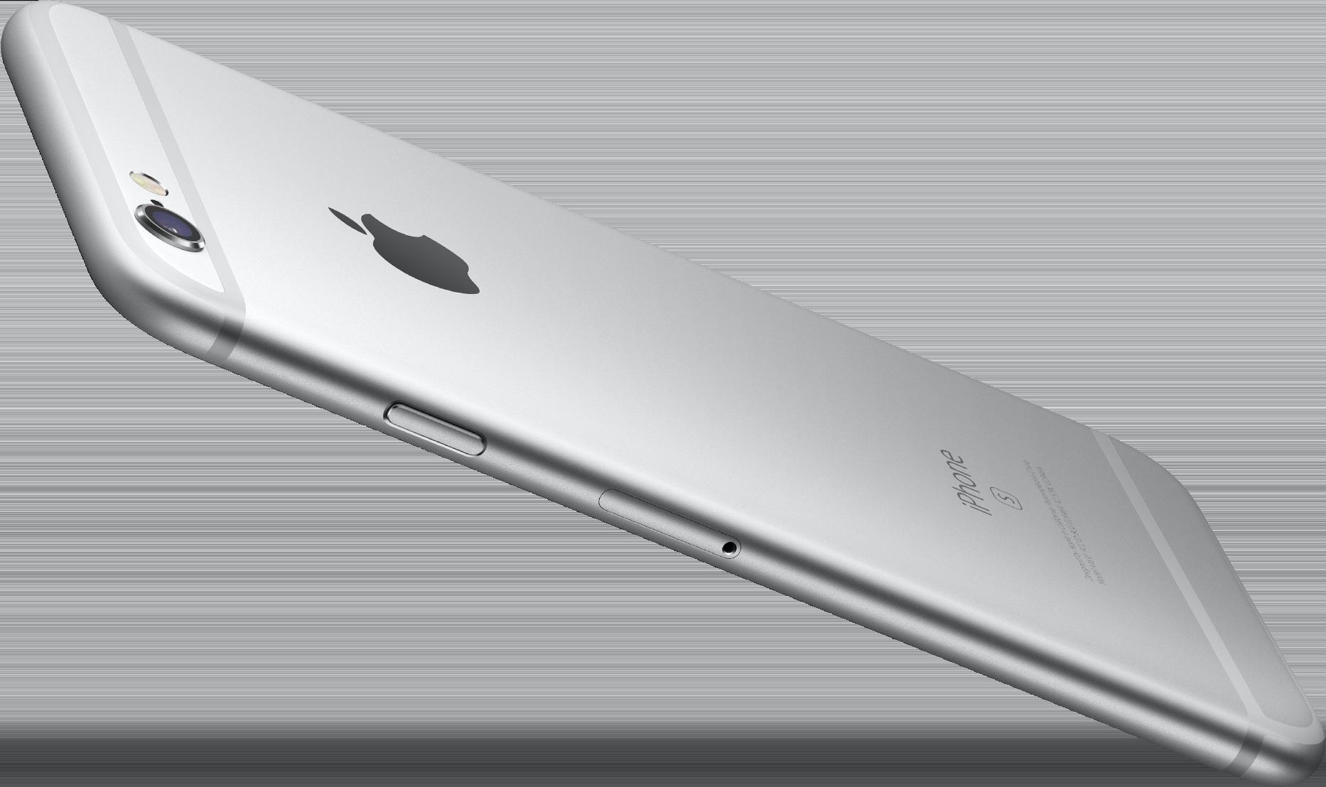 iPhone 6s prata de lado e flutuando