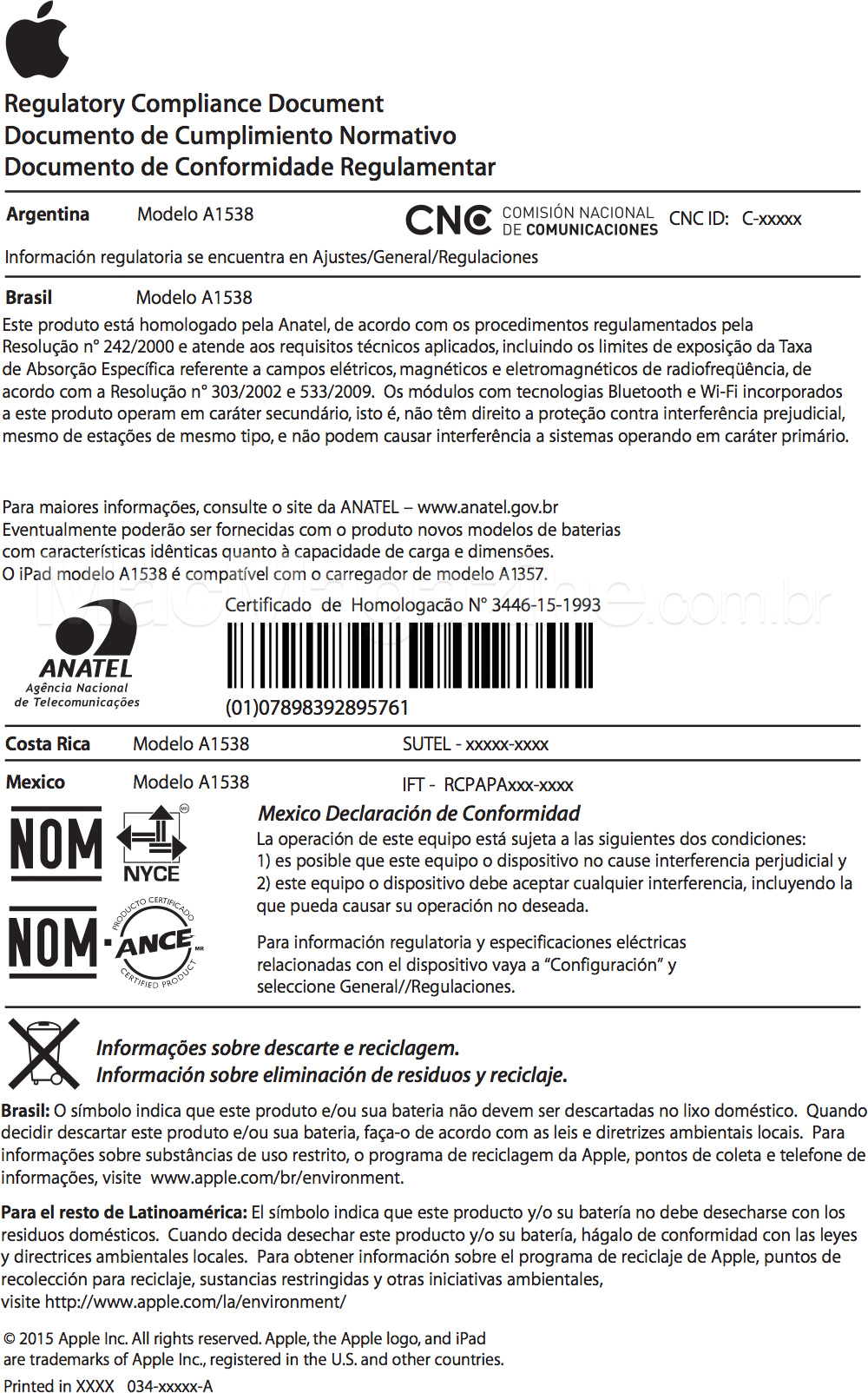 Certificado de homologação do iPad mini 4