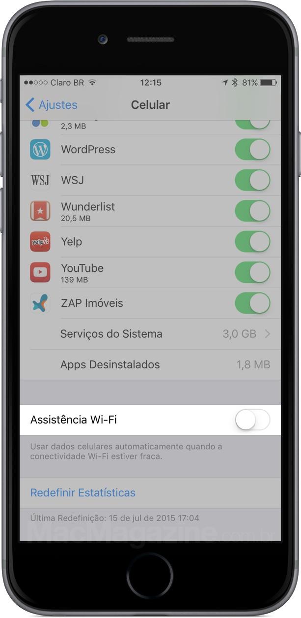 Recurso Assistência Wi-Fi do iOS 9