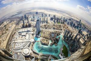 Foto aérea dos Emirados Árabes Unidos
