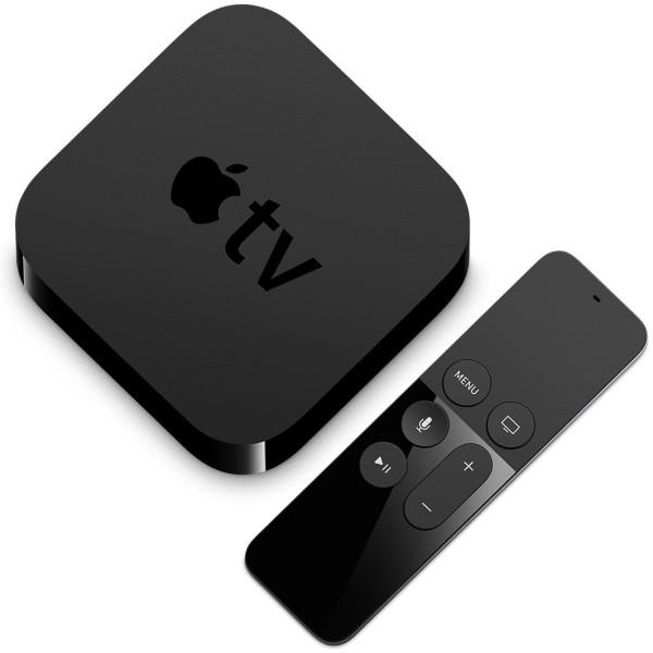 Apple TV e Siri Remote vistos de cima na diagonal