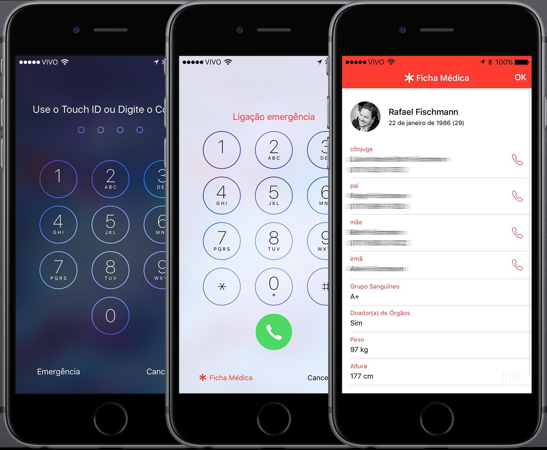 Ficha Médica no Saúde do iOS