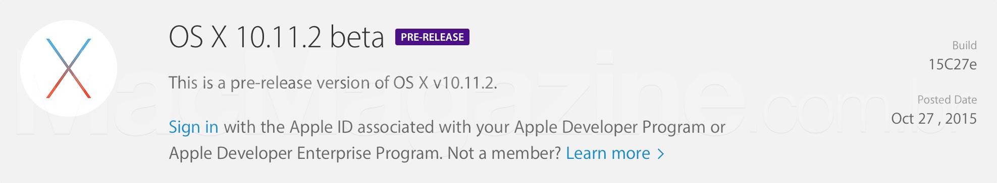 OS X 10.11.2 beta