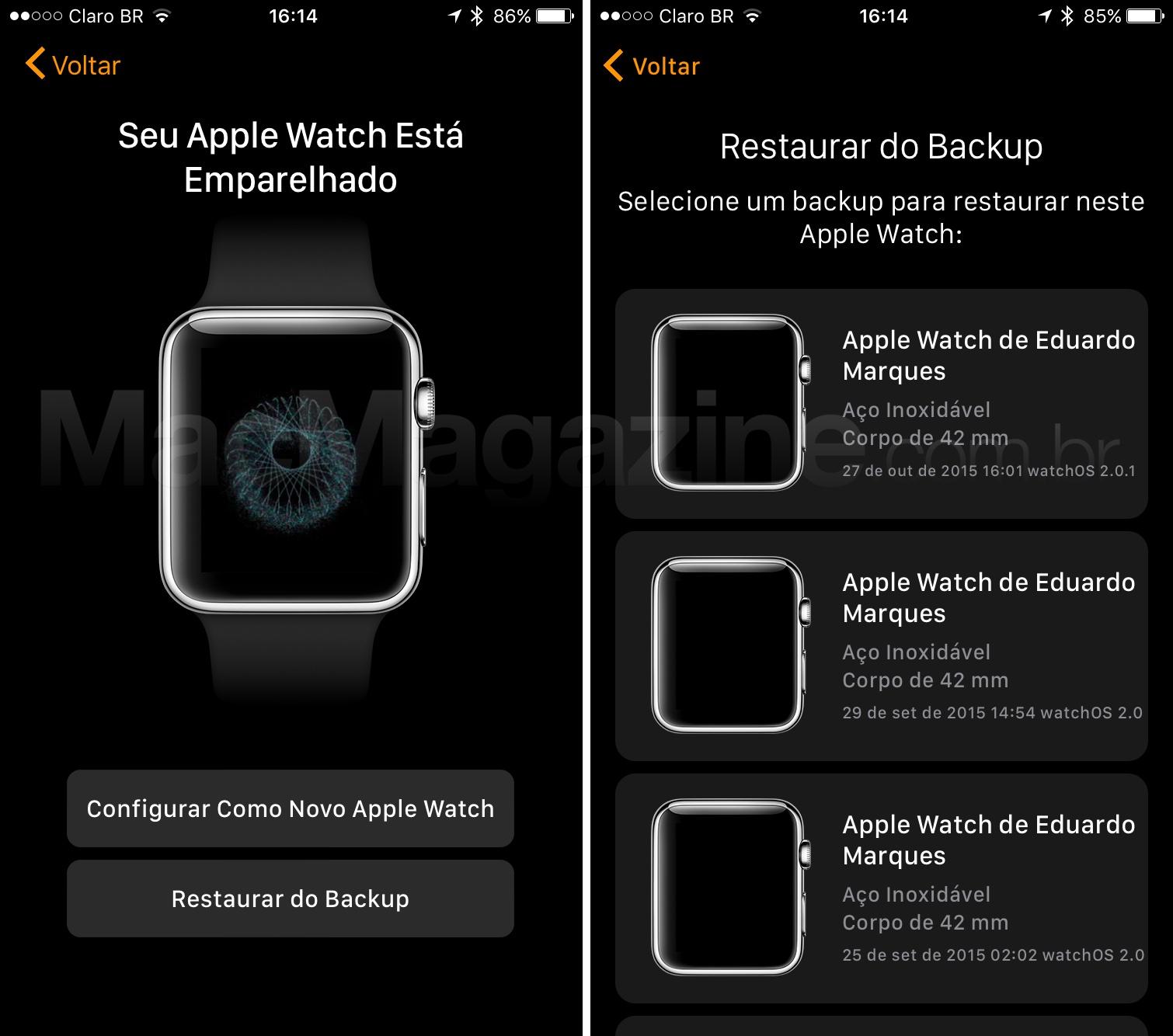 Transferindo dados do Apple Watch para um novo iPhone