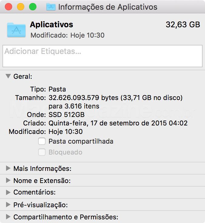 Pasta Aplicativos do OS X