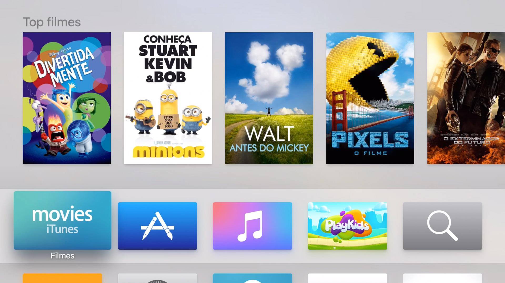 Tela inicial da nova Apple TV