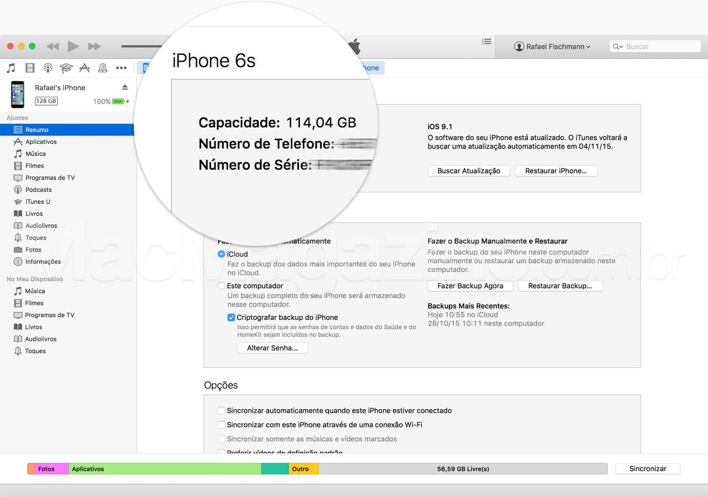 Capacidade do iPhone pelo iTunes