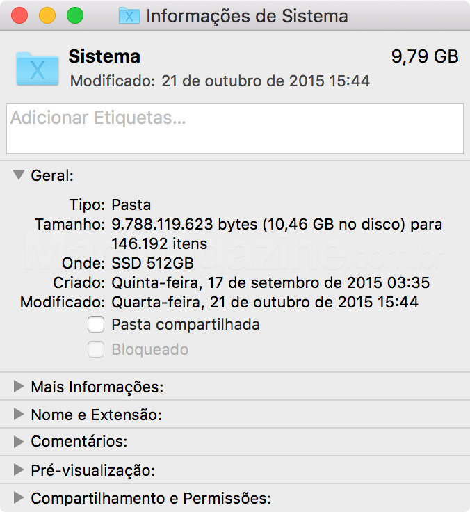 Pasta Sistema do OS X