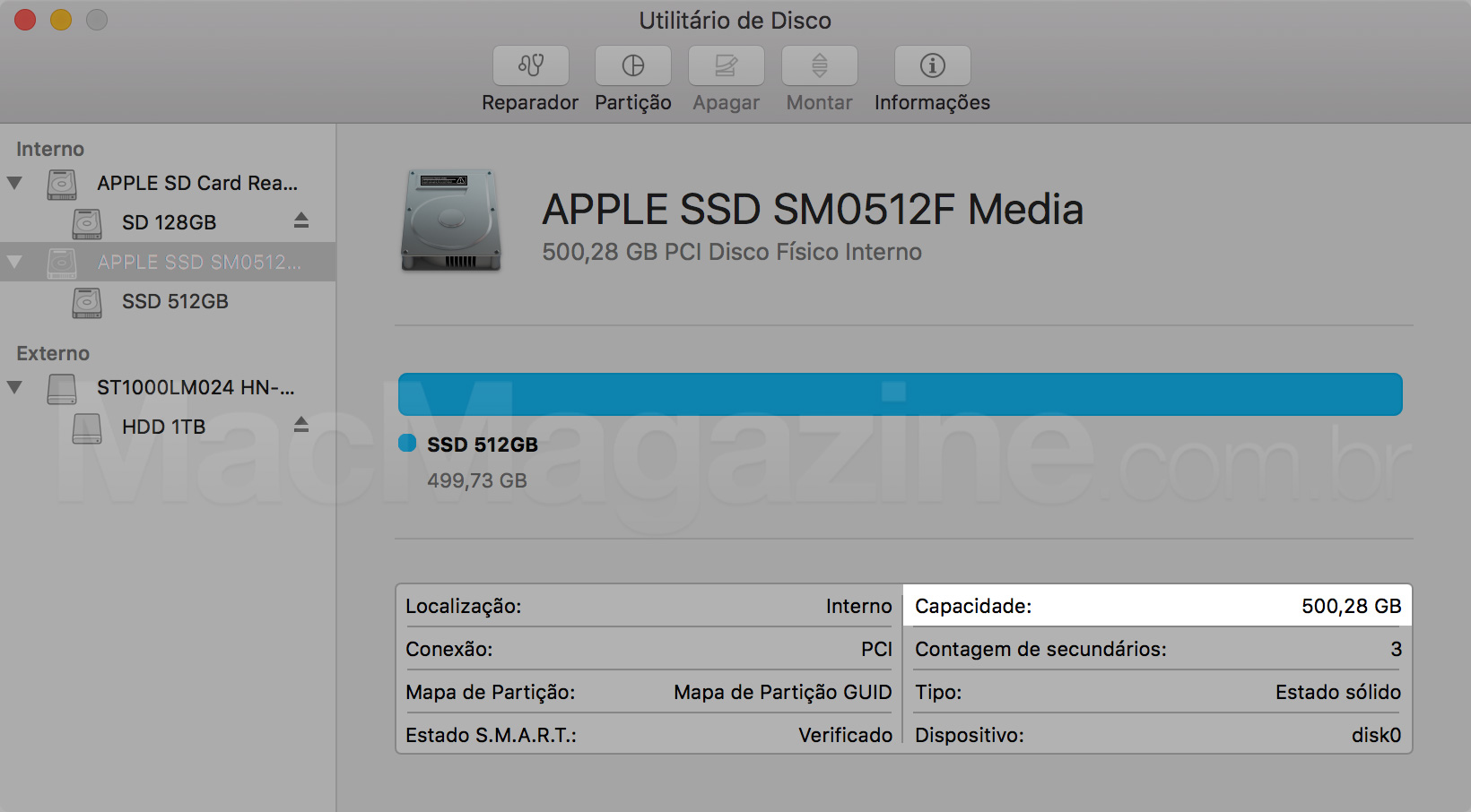 SSD do MacBook Pro com tela Retina
