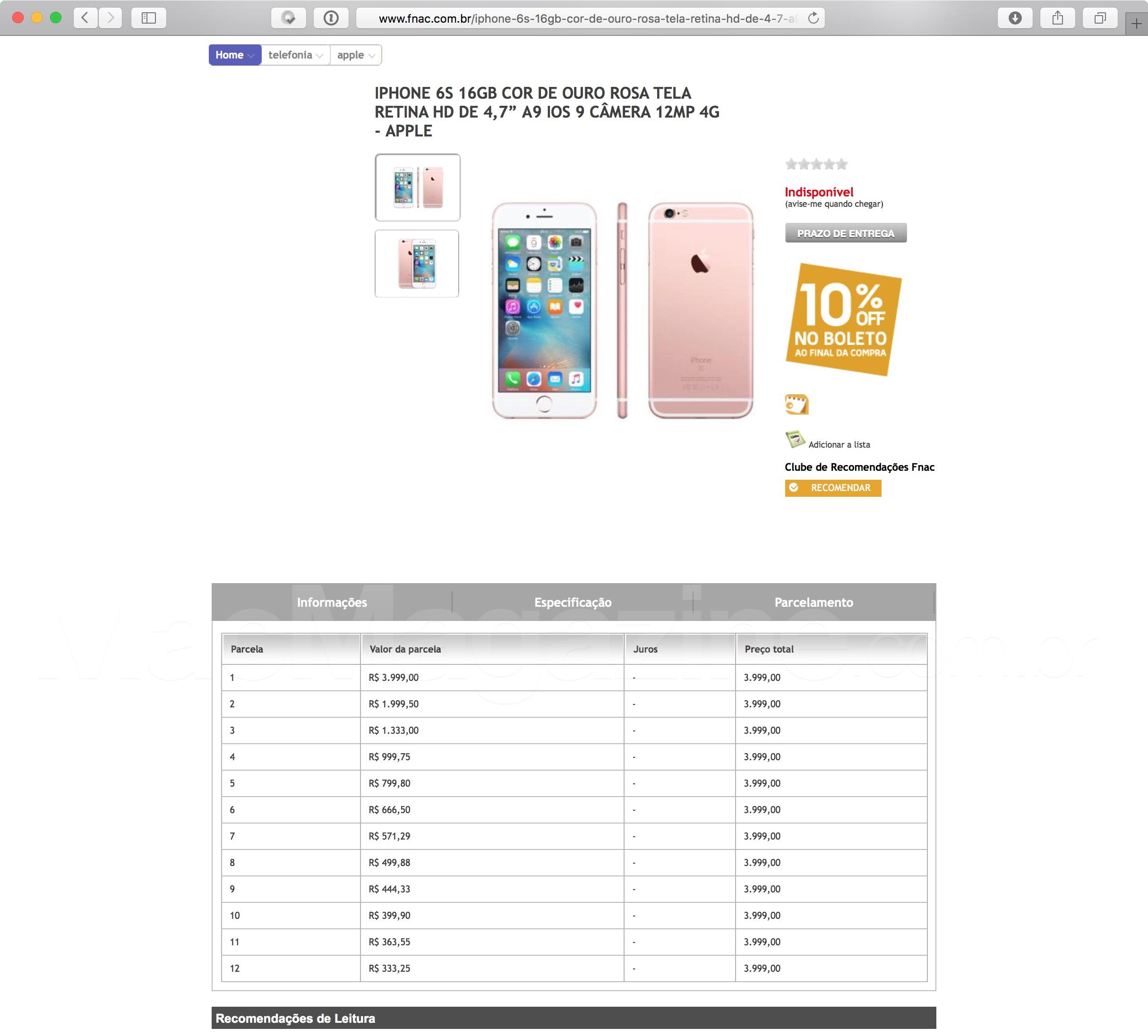 Fnac vaza os preços dos iPhones 6s e 6s Plus