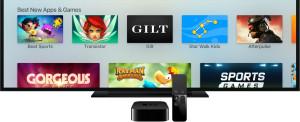 Nova Apple TV com controle e televisão cortada