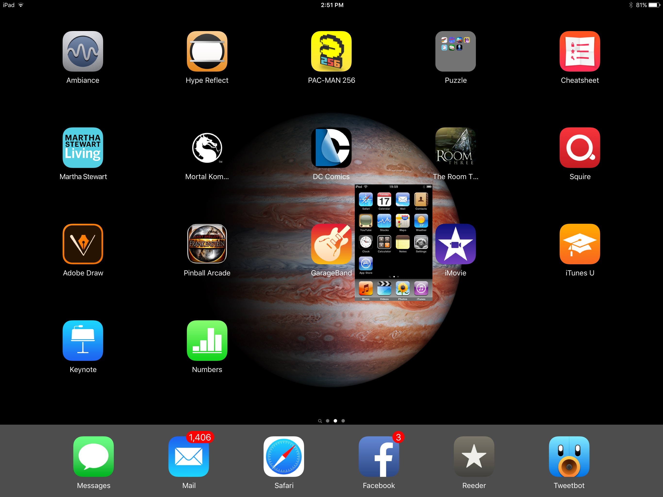 Tela dos primeiros iPhones entre dois ícones no iPad Pro