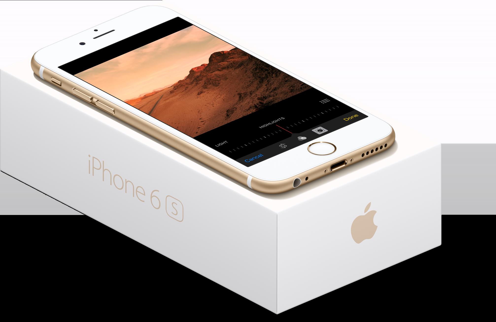 iPhone 6s dourado em cima da sua caixa de frente e de lado