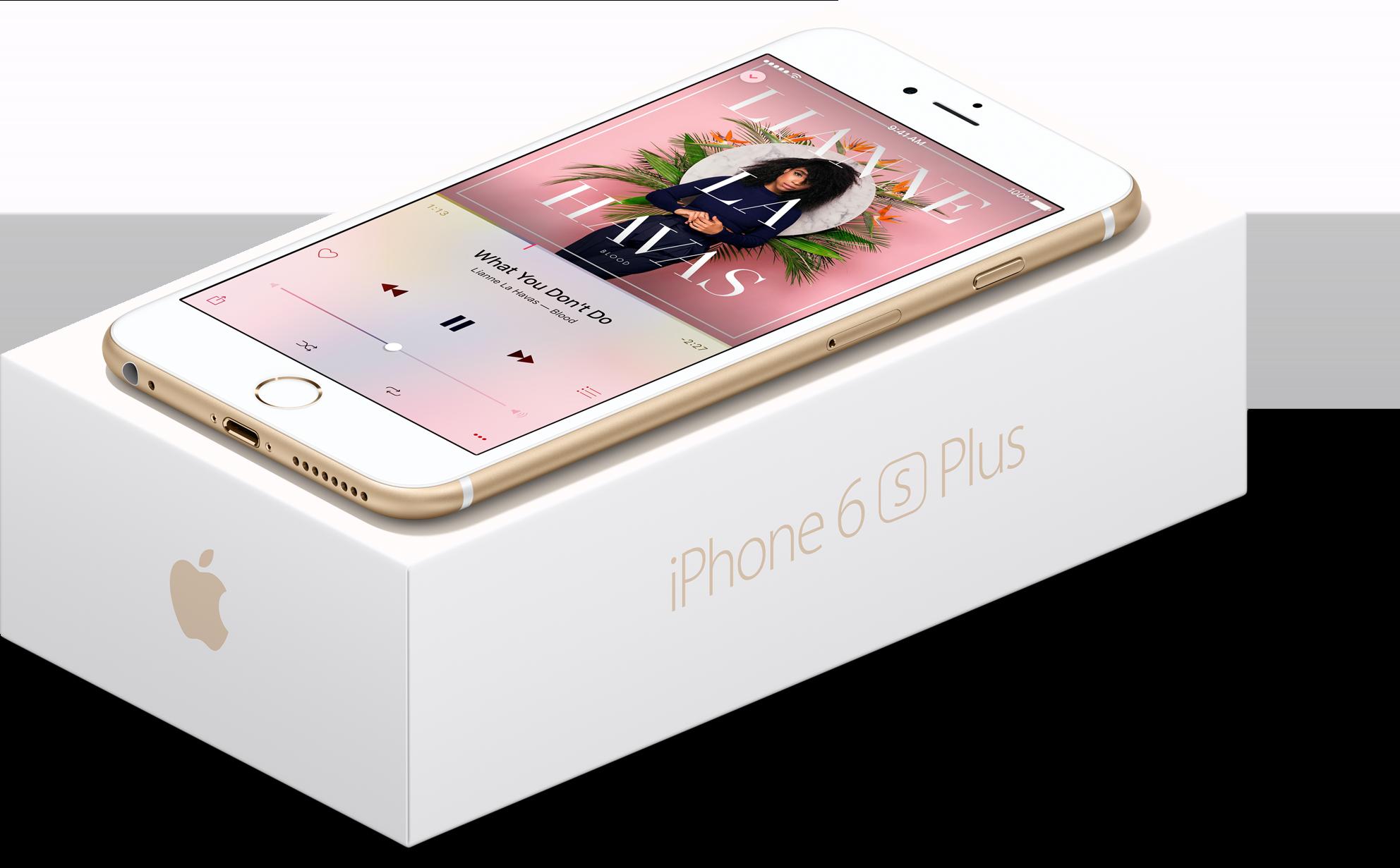 iPhone 6s Plus dourado em cima da sua caixa de frente e de lado